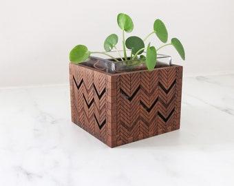 Wood Succulent Holder - Engraved Wood Vase - Wood Votive Holder - Chevron - Herringbone -