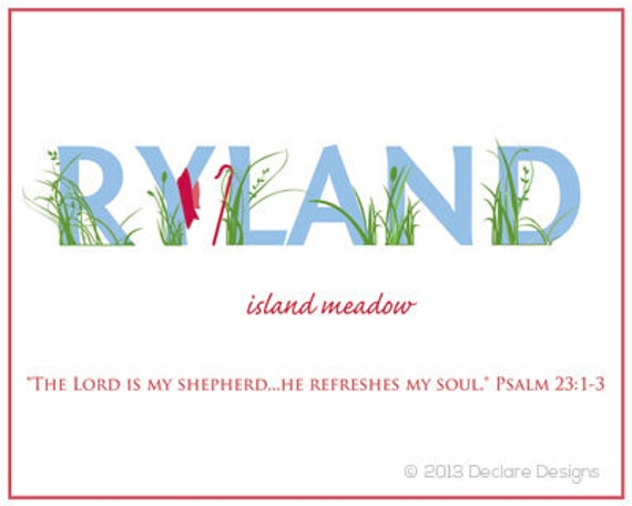 RYLAND (Shepherd) Name Art Canvas with Name Meaning and Scripture Verse, 16x20 - Wall art baby name meaning