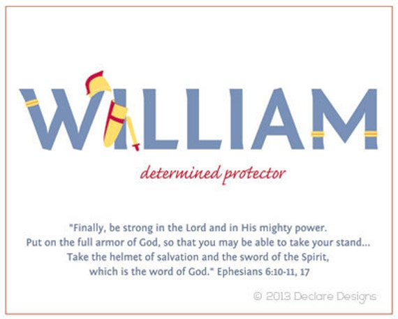 WILLIAM Name Art Canvas with Name Meaning and Scripture Verse, 16x20 - Wall art baby name meaning