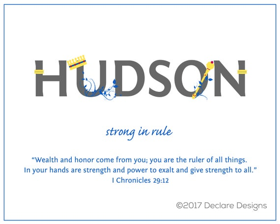 HUDSON Name Art Canvas with Name Meaning and Scripture Verse, 16x20 - Wall art baby name meaning