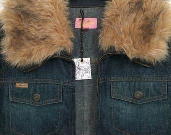 494862aeca Hooch 1970 s style denim jacket with faux fur collar and cuffs.  ShellysRelics