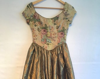 Laura Ashley Vintage Bronze Tapestry Baroque Medieval BallGown Costume Size UK 10