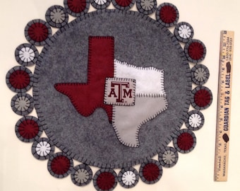 Texas A&M Penny Rug / Candle Mat