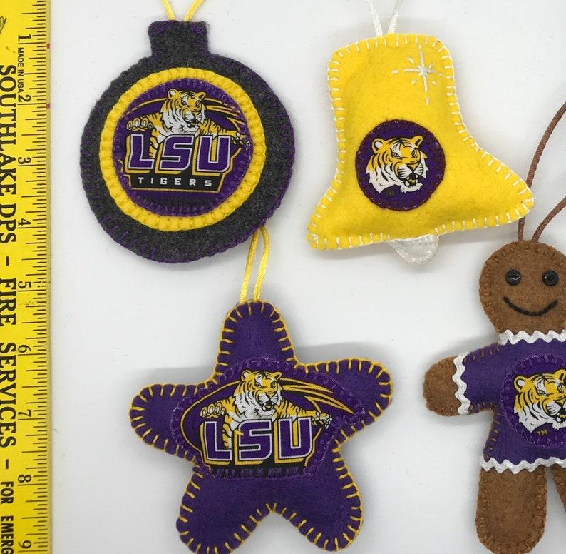 Louisiana State University Felt Christmas Ornaments
