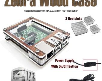 C4Labs Zebra case for Raspberry Pi 3B+, 3, 2, 2B, B+ w/power cord, heatsinks & optional Fan upgrade - Classic Wood