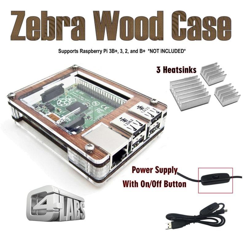 C4Labs Zebra case for Raspberry Pi 3B 3 2 2B B w/power image 0
