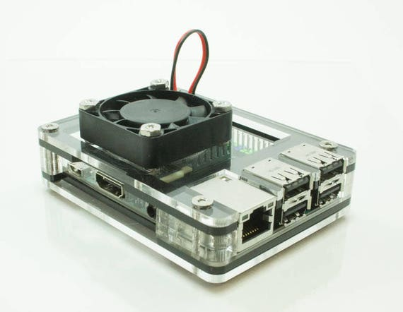 Zebra Black Ice Case for the ASUS Tinker Board/Tinker Board S - Fan Upgrade  Optional- by C4Labs