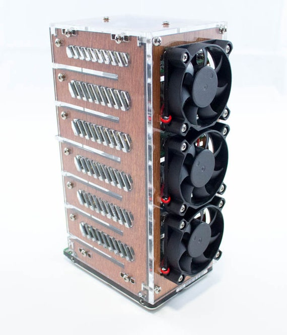 Bramble 4 or 6 Stack Case with fans for Raspberry Pi 4B, 3B+, 3 & Pi Drive~  Made by C4Labs