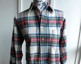 224b6e70b5109 Vintage LL Bean Scotch Plaid Flannel Shirt   Red Green Yellow Plaid    MacLean   LL Bean Flannel Shirt   Made in USA   Unisex S