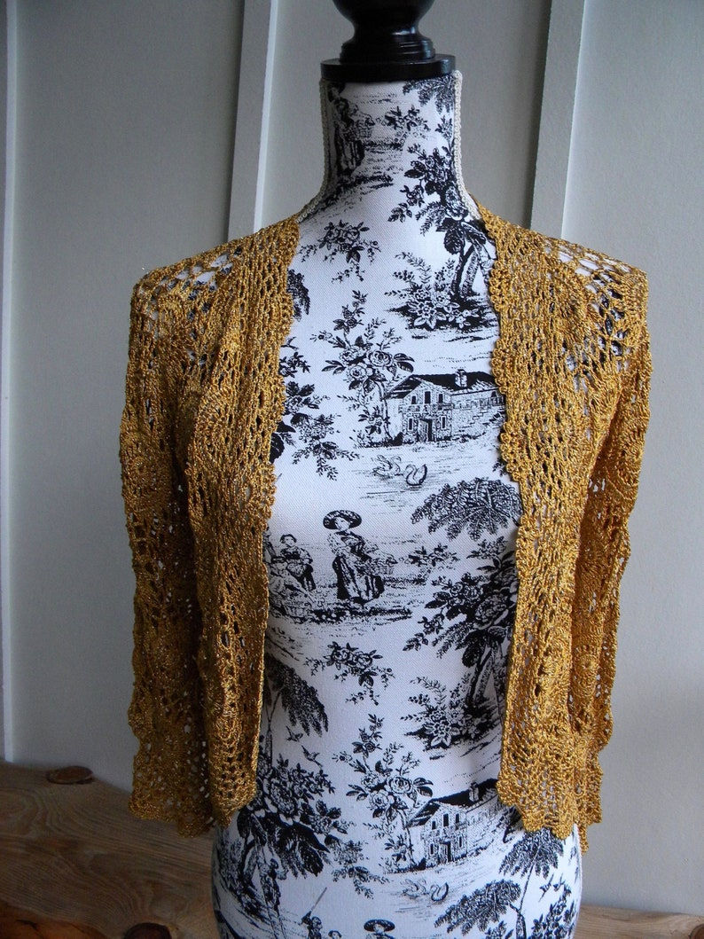 00aca5c3133d Vintage Gold Crochet Sweater   Cropped Metallic Gold Lace Sweater   Gold  Crochet... Vintage Gold Crochet Sweater   Cropped Metallic Gold Lace Sweater    Gold ...