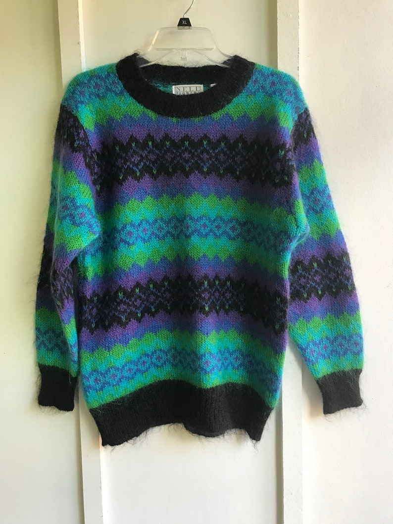 1ad540747976a5 Vintage Mohair Blend Colorful Patterned Sweater /Nell Flowers   Etsy
