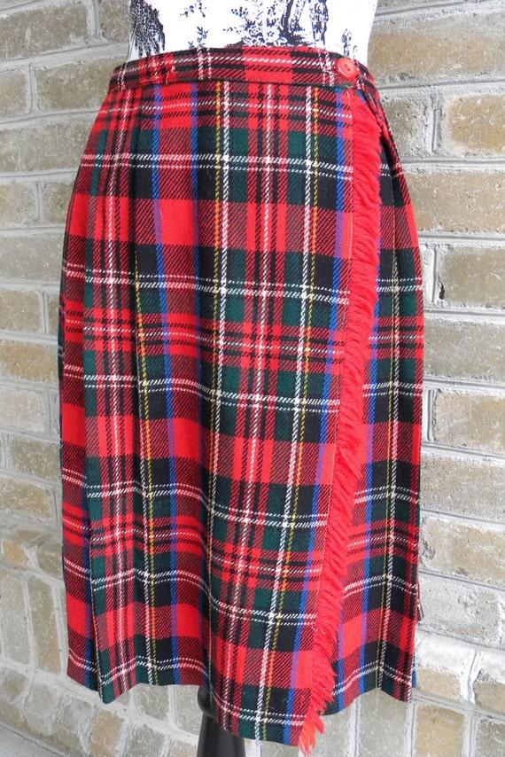 Vintage Wrap Around Kilt Style Red Tartan Plaid Skirt Kilt Skirt Red Plaid Skirt Size S Waist 26 Inches