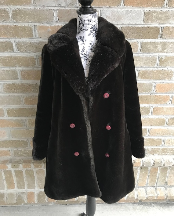Vintage Borgazia Dark Brown Faux Fur Coat / Faux F
