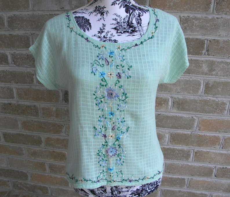 789b4a1f13d41 Vintage Green Embroidered Cotton Gauze Shirt   Retro Green