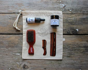 Beard Kit Cloudy North with Beard Balm, Beard Oil, Beard Comb, Moustache Comb, Beard Brush and Gift Bag