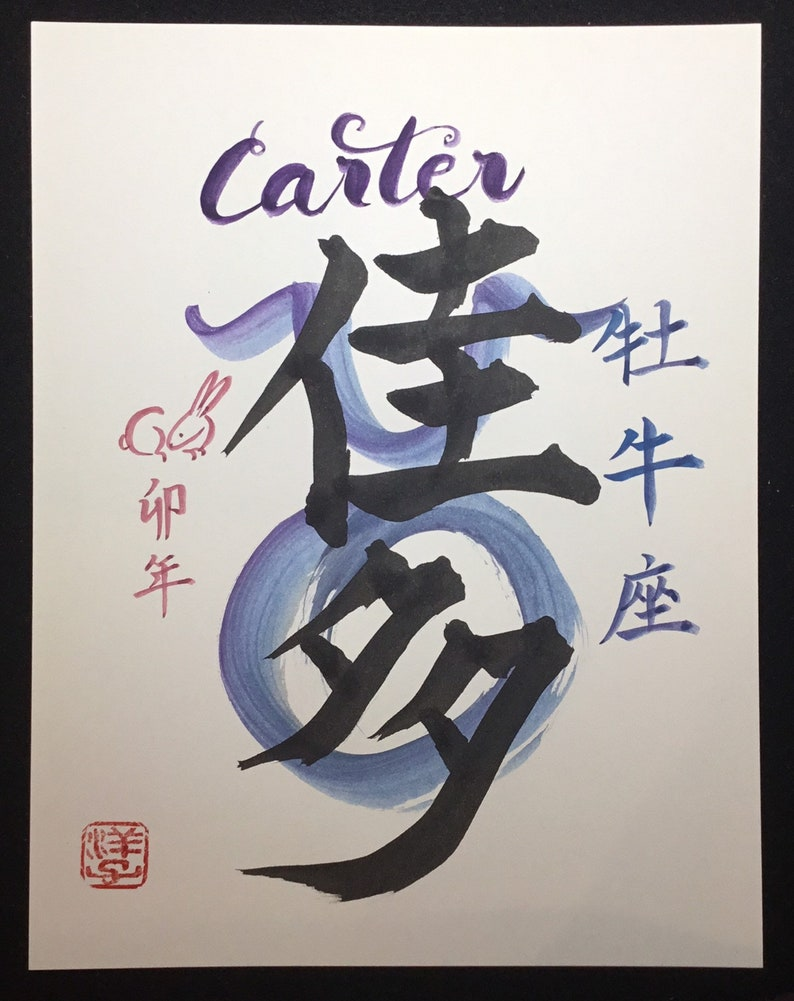 Personalized Japanese Calligraphy of Your Name, astrology and Japanese  zodiac signs and name-Japanese Kanji-zen-wabisabi