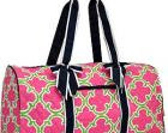 f26065c8c4 Machine Embroidered Quilted Duffle Bag- Pink with Lime Quadrofoil Pattern  with Black ribbon.. Includes FREE personal embroidery.