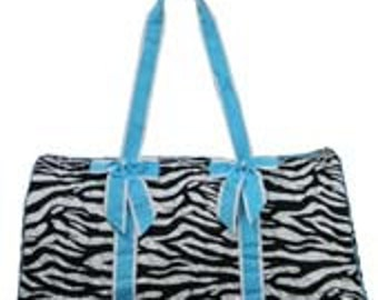 1a95d32807eb Machine Embroidered Quilted Duffle Bag- Black Zebra Pattern with Light Blue  or LimeTrim. Includes FREE personal embroidery.