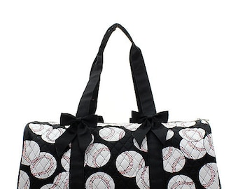 075a488fd5 Machine Embroidered Quilted Duffle Bag- Black with Baseball Print. Includes  FREE personal embroidery.