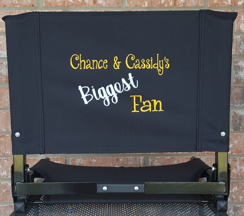 Embroidered Stadium Chair (Seat) with Custom Embroidery BIGGEST FAN   Available in Black, Red, Blue, Forest Green and Maroon