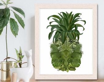 Pineapple print tropical print - Tropical Palms pineapple - botanical print botanical art tropical wall art tropical decor pineapple art