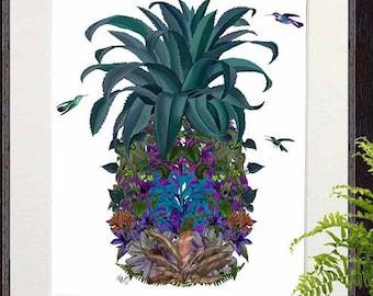 Tropical decor Pineapple print Flowers 1 beach house coastal living pineapple decor Tropical print home decor wall decor pineapple wall art