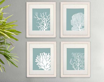 Set 4 Coral Prints Mist Blue/Green, Nautical print nautical Poster coral art Wall Art Wall Décor Wall Hanging beach house bathroom poster