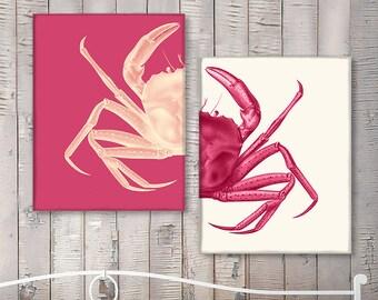 Crab Prints Pink, Crab art Nautical Print Beach Decor bathroom Decor Nautical Decor Wall Art Beach House Decor Crab Picture