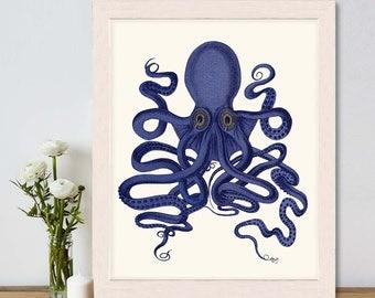 Octopus Print Blue 9 - Octopus wall art Octopus poster octopus illustration Nautical Print Digital Print blue octopus Wall Art Wall Decor
