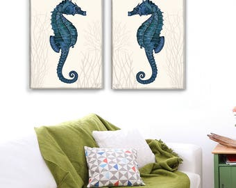 Seahorse Prints Blue On Cream Set of 2, Nautical Print Beach Decor bathroom Decor Beach House Decor Seahorse wall decor Digital Painting