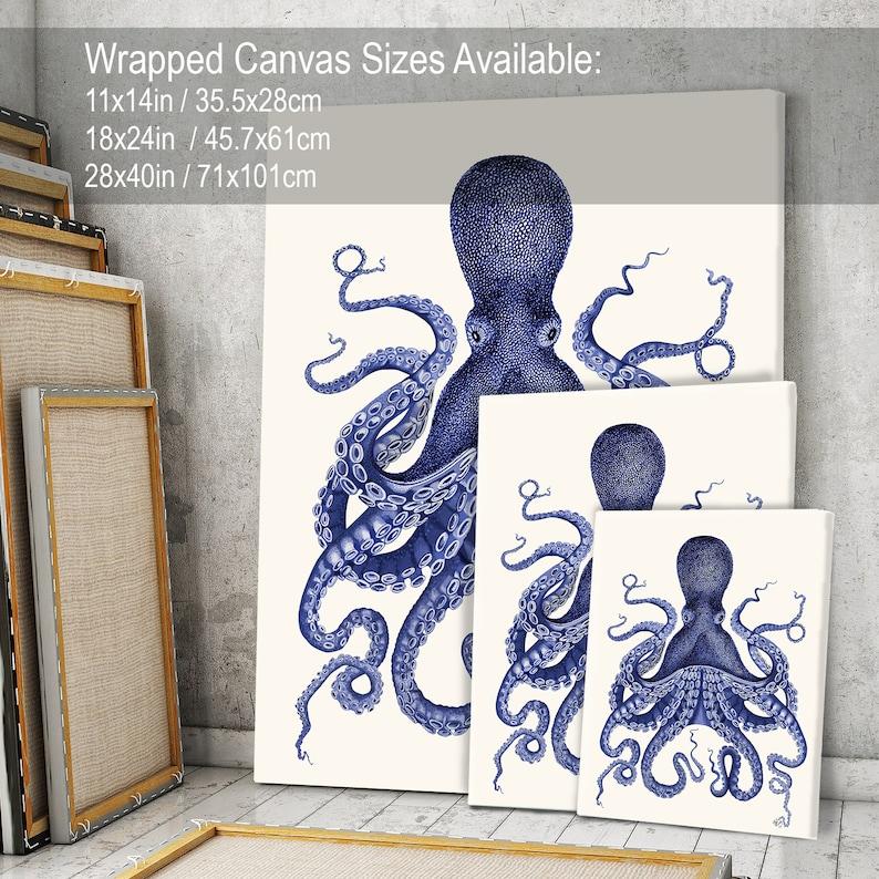 Octopus Print Blue Octopus Print 3  Nautical Home Decor Octopus wall art Octopus poster Bathroom decor Bathroom wall art Beach House Decor