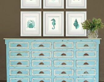 Nautical Prints Set of 6 - Turquoise on Cream Nautical Print Nautical Decor Nautical Home Decor Shell art starfish print Seahorse print