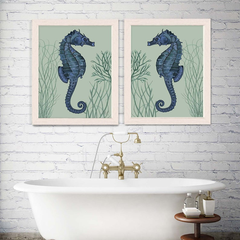 Nautical Print Beach Decor bathroom Decor Beach House Decor Seahorse Illustration Painting Seahorse Prints blue on pale greensage Set of 2