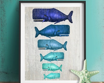 Whale Family Blue on Grey : whale poster whale print Nautical Print Art Illustration Nautical decor whale gift whale art Wall Art Wall Décor