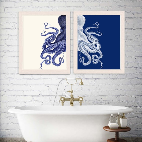 Bathroom Decor 2 Octopus Prints Navy, Bathroom Decor Blue