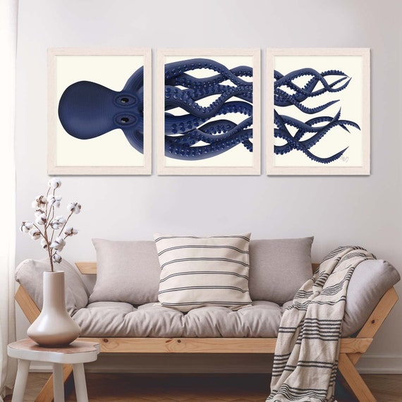Giant Octopus Triptych Set 3 Octopus Print Octopus Canvas Etsy