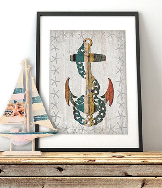 Anchor print Distressed Wood Effect Anchor 1 Anchor wall | Etsy