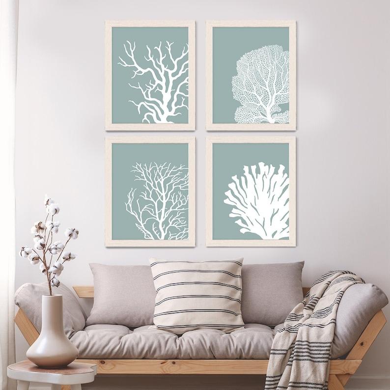 Set 4 Coral Prints Mist Blue/Green Nautical print nautical image 0