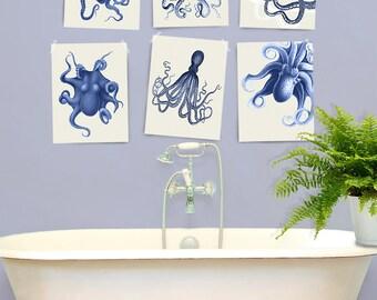 Octopus Print Blue/Cream Set of 6- Nautical Print Nautical Nursery Decor octopus art print Octopus wall art Bathroom wall art Bathroom decor