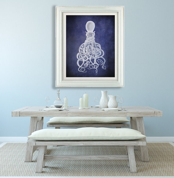 Octopus Wall Art Twisted Octopus Print White On Blue Etsy