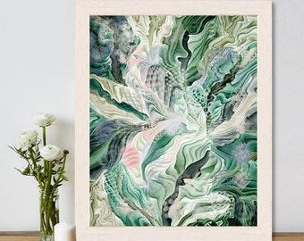Forest painting, Abstract tree art, Green canvas large, Beach house decor, Bathroom art prints, Coastal art Modern pictures, Uk artist, 2