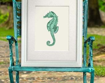 Seahorse print - Green Seahorse Art Print seahorse décor sea life print sea life art marine print marine painting ocean art ocean print