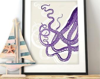 Octopus Tentacles in Purple Octopus print coastal living decor Beach Wall art Kraken wall art Nautical Nursery Decor sea side décor marine