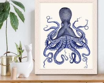 Octopus Print - Blue Octopus Print 3  Nautical Home Decor Octopus wall art Octopus poster Bathroom decor Bathroom wall art Beach House Decor