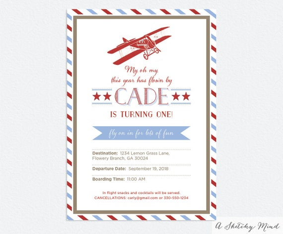 Airplane Birthday Invitation First Time Flies Digital Or Printed Invitations Free Shipping