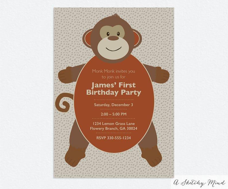 Monkey Birthday Invitation Monkey Invitations Monkey First Etsy
