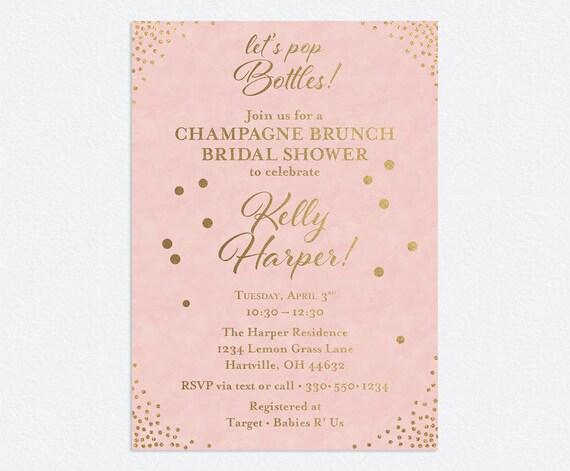 Bridal Shower Invitation Pink And Gold Confetti Shower Invite Digital Or Printed Invitations Free Shipping