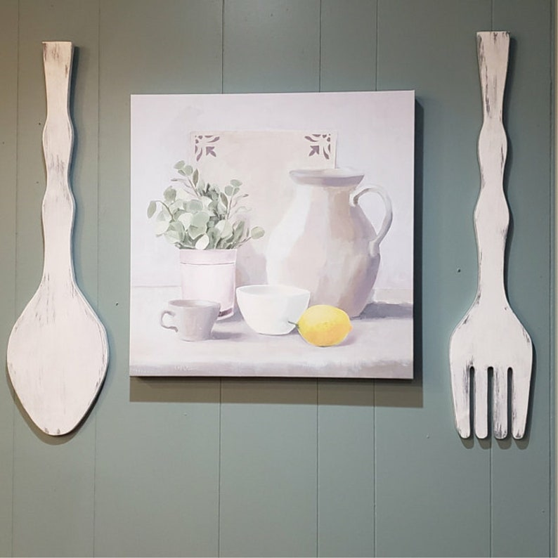 Large Wood Fork And Spoon Set Kitchen Wall Decor Fork And