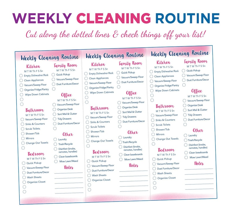 picture regarding Weekly Cleaning Schedule Printable referred to as Weekly Cleansing List Printable // Quick Down load
