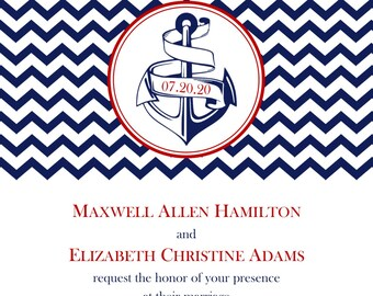 "Anchor Wedding Invitation 5""x7"" Digital Card & RSVP Postcard Style"